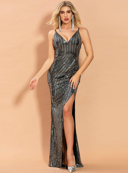 Women Sexy Black Split Sequins Long Praty Dress