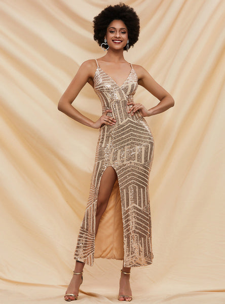 Sexy Split Geometric Sequins Long Suspenders Dress