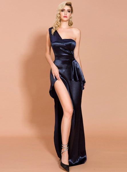 Sexy Split Irregular One Shoulder Party Dress