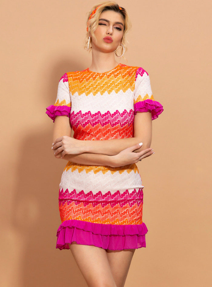 Wave Stripes Contrast Fashion Ruffled Short Sleeve Skirt