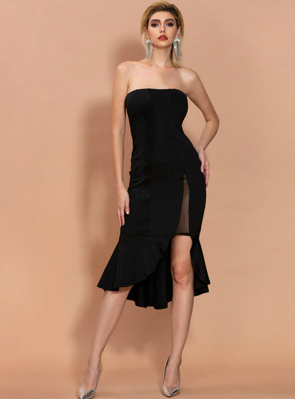 Sexy Black Irregular Split Fishtail Evening Dress