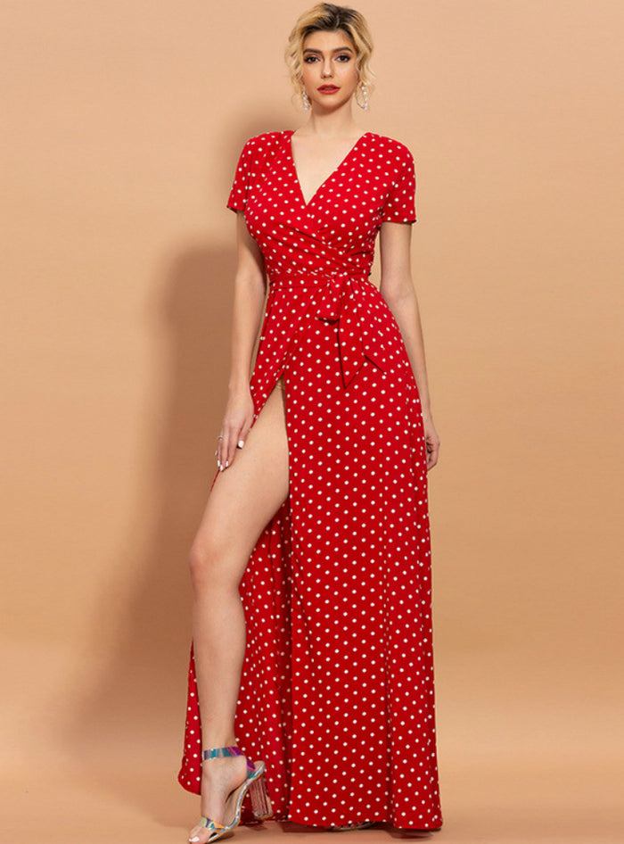 Beach Holiday V-neck Printed Floral Polka Dot Dress