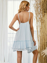 Lace Stitching Ruffled Sleeveless Sling Short Dress