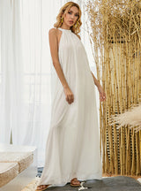 White Boho Solid Color Chiffon Long Dress