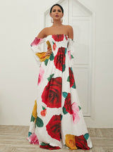 Tube Top Printed Off the Shoulder Holiday Dress