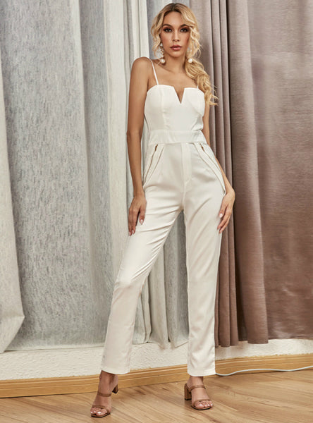 Women Casual Loose Wide-leg Pants V-neck Jumpsuit