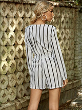 Casual Wide-leg Shorts Striped Loose V Neck Jumpsuit