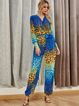 Leopard Print Jumpsuit Long Sleeve Printing Leisure