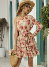 Chiffon Floral One Shoulder Slim Short Dress