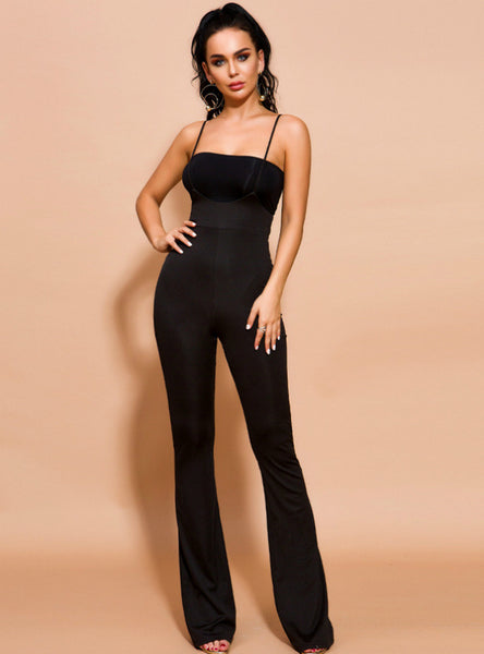 Women Black Slim Suspenders Pants Jumpsuit