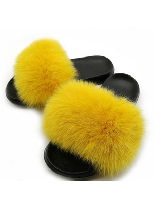 Summer Women Fox Fur Slippers Real Fur Slides Female