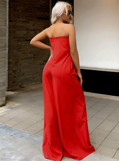 Tube Top Red High Loose Wide-leg High Waist Trousers