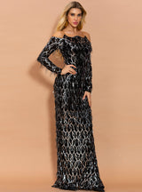 Black Tassels Sequins Off the Shoulder Party Dress