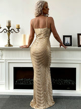 Gold Sexy Sling Sequins V-neck Party Dress