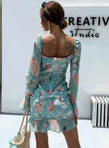 Chiffon Drawstring Pleated Skirt Floral Ruffled Dress
