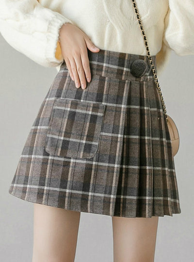 High Waist Female Plaid Mini Skirts Asymmetrical