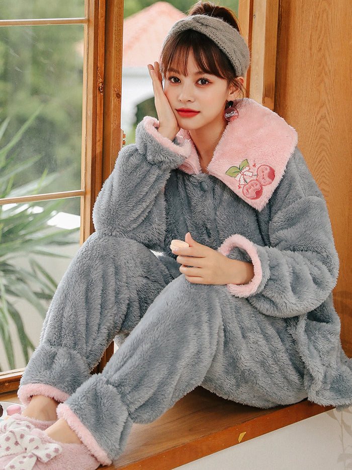 Gray Cherry Coral Velvet Pajamas Women Thicken