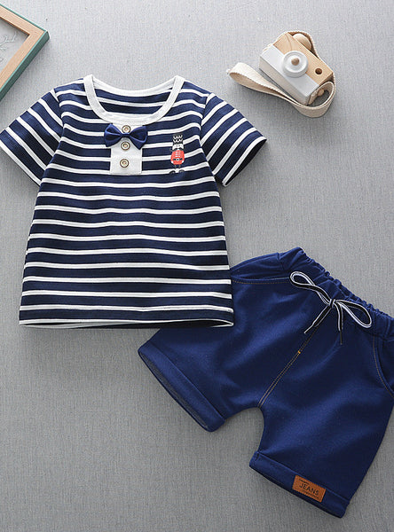 Stripe Printed T-Shirt+Stripe Shorts Children Boys Set