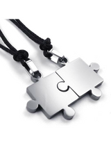 Mens Womens Steel Puzzle Pendant Love