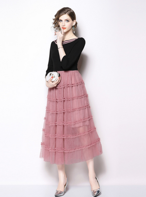 Pink 3/4 Sleeve Mesh Long Dress With Sash