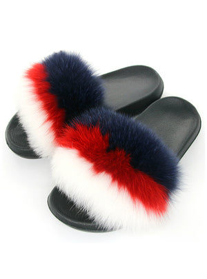 Women Flat Fur Sandals Indoor Slippers