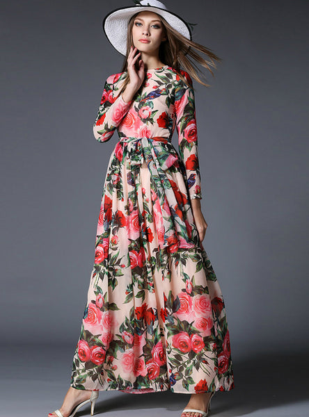 Chiffon Rose Printing Long Sleeve Casual Beach Dress