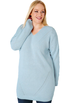 V Neck Hollow Out Sweater Long Sleeve Solid Blue