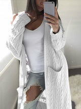Womens Pockets Sweater Long Warm Sweater Cardigan Coat