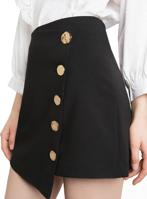 Skirt Women Casual Solid Black High Waist Lady Skirts
