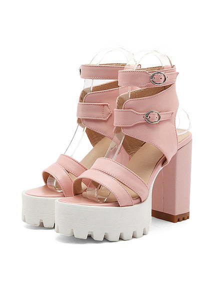 High Heels Cut-outs Female Sandals Open Toe Platform