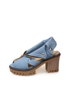 Denim Platform Sandals Women High Heel Sandal