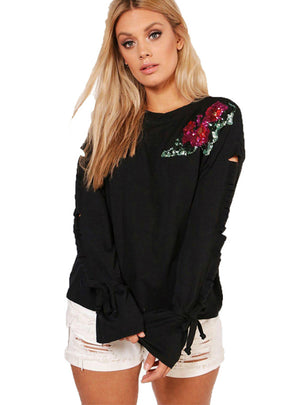 Floral Sequin Sleeve Hole T Shirt Long Sleeve
