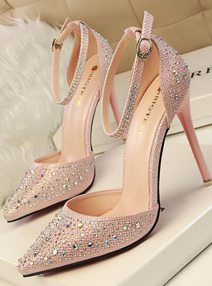 High Heels Shoes Woman Silver Rhinestone Wedding Shoes