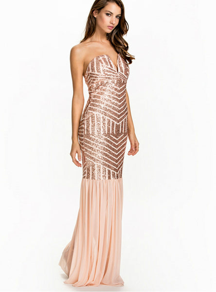 Sequined Mermaid Tulle Dresses Champagne Cold Shoulder