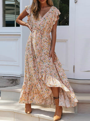 Floral Print Long Dress Boho Summer Maxi Dresses