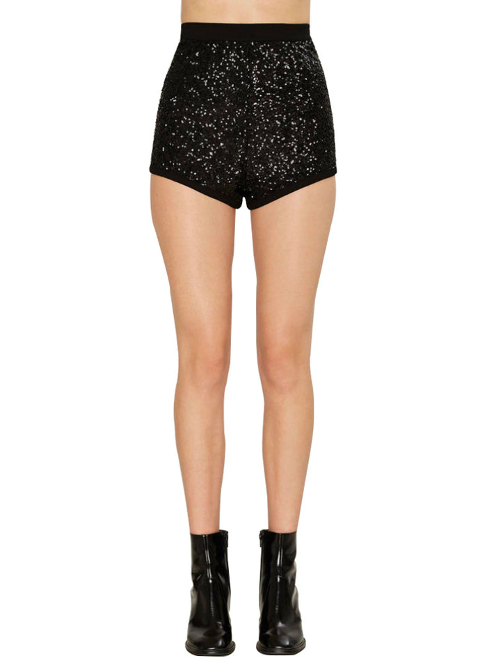 Sexy Sequin Patchwork Zipper Female Shorts Brief Style