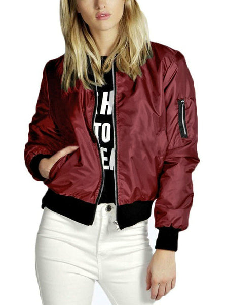 Basic Bomber Jacket Long Sleeve Coat Casual Stand