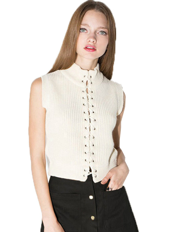 Cold Shoulder Female Knitted Tops Preppy Style Solid