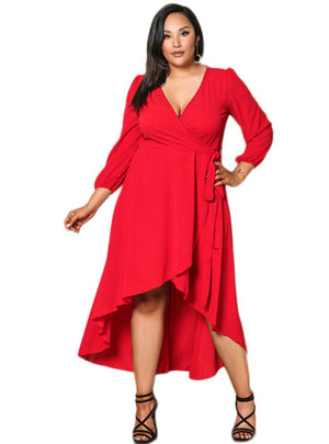 Deep V Neck High Low Three Quarter Sleeve Dress