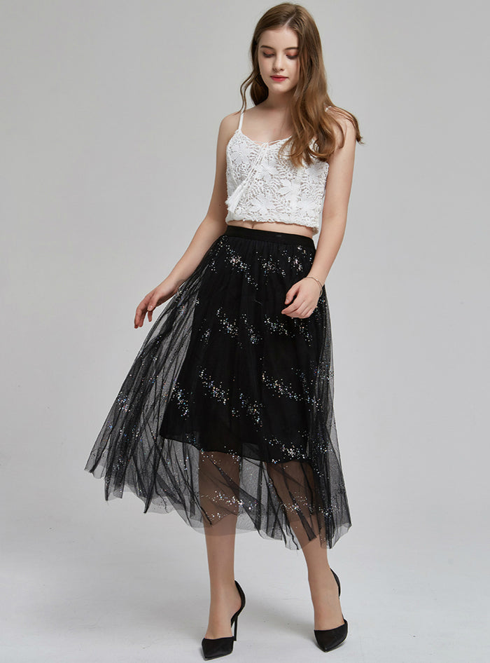 Star Mesh Skirt Mid-length Tulle Skirt