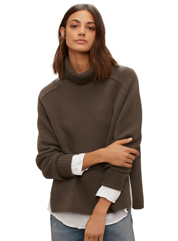 Women Sweaters Turtleneck Full Sleeve Split Lady Tops