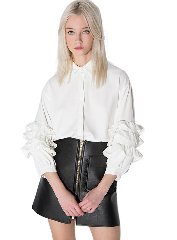 Vintage Party Ruffle Top Casual ladies Blouse Shirt