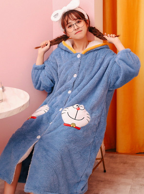 Blue Jingle Cats Coral Velvet Robe Cute Cartoon
