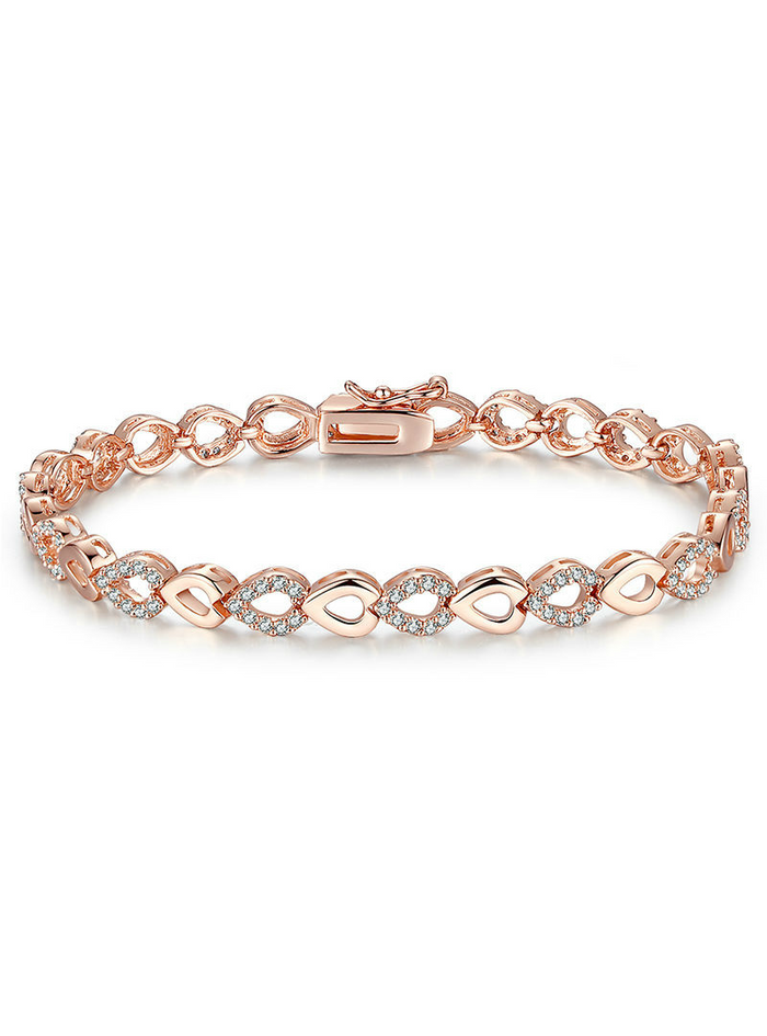 Rose Gold Heart Chain AAA Cubic Zircon Crystal