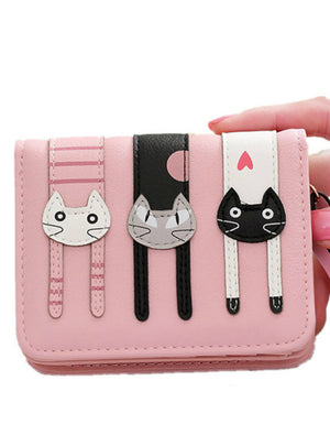 Women Cute PU Leather Hasp Cartoon Cat