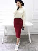 Sexy Chic Pencil Skirts Women Skirt Wool Rib Knit