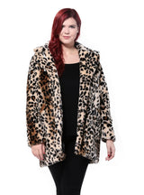 Leopard Fur Side Pockets Vintage Elegant Warm Coat