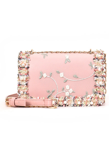 PU Leather Sweet Girl Square bag Flower Pearl Chain