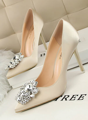 Rhinestone Silk Satin High Heels Shoes Thin Pointed