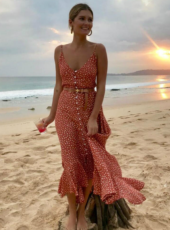 Women's Boho Maxi Dress Girls Sweet Dot Long Dress